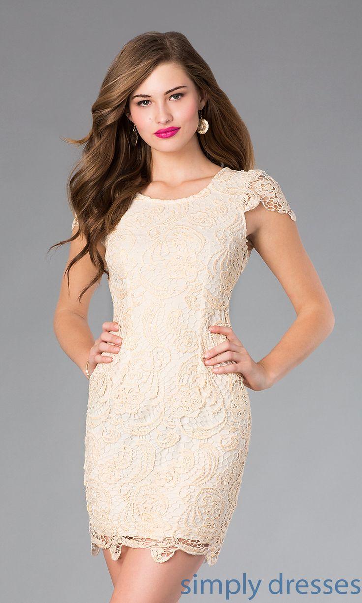Dress, Short Lace Scoop Neck Dress - Simply Dresses
