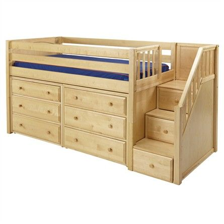 The Great Low Loft Bed with Dressers and Staircase is a fun and functional loft for your child!