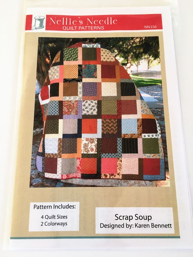 """Scrap Soup Quilt Pattern by Karen Bennett 4 Quilt Sizes , 2 Colorwarys  10"""" square friendly, Layer cake friendly  #NN356 by Cindysfabricboutique on Etsy"""