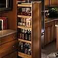 Tall Pull Out Pantry, 6 inch end cabinet Utility Organizer, available from MasterBrand's Schrock and Kemper cabinet manufacturers