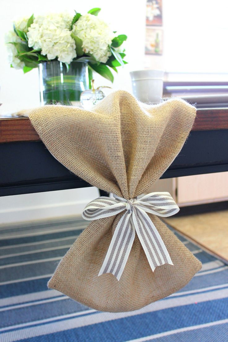 Burlap Table Runner With Bow Lined Table Cloth By
