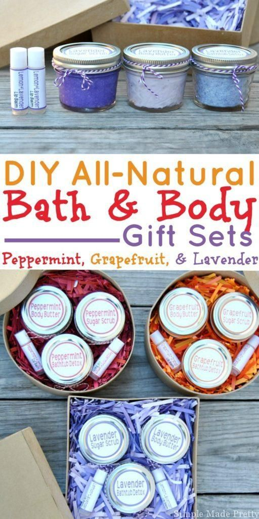 These 3 easy DIY all-natural bath and body gift sets are made with essential oils and all-natural ingredients. If you like making handmade gifts or use essential oils (or are thinking about using them) keep reading for how to make an all-natural beauty products gift set to give to loved ones (perfect for holiday gifts too!). Download the free printable labels to create an easy handmade gift for the ladies in your life! Grapefruit bath tub detox, grapefruit sugar scrub, grapefruit body…