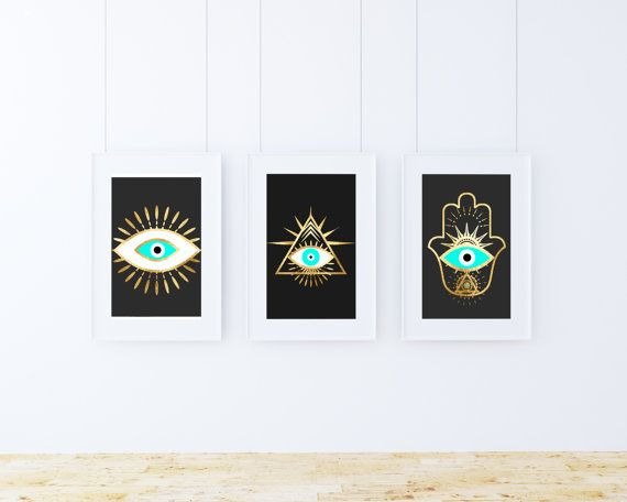set of 3 three, Evil eye hamsa gold foil prints, bohemian posters, black and gold wall art, evil eye Art, Spiritual Art, printable download