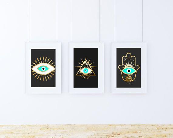 set of 3 three, Evil eye hamsa gold foil prints, bohemian posters, black and gold wall art, evil eye Art, Spiritual Art, printable download