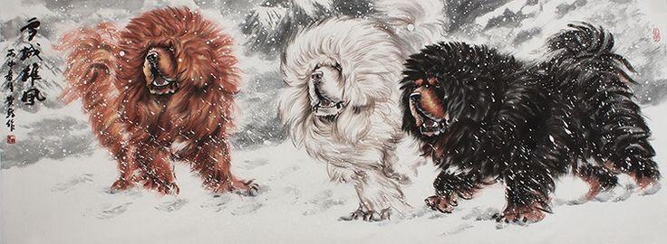 Beautiful Chinese painting Animal portraits Dog art Tibetan mastiff Painting - US $1958.00