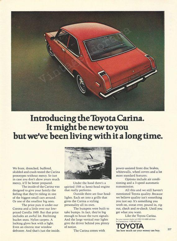 Toyota Carina Automobile Original 1972 Vintage by VintageAdOrama, $9.99