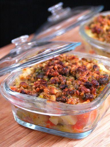 Crumble aux légumes, pistaches et noisettes