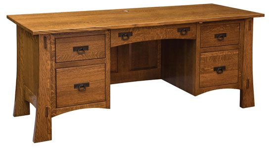 """You'll save on every piece of furniture at Amish Outlet Store! We custom make every item, and you can get the Modesto 74"""" Computer Desk in Oak with any wood and stain."""