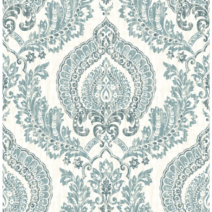 Brewster Wallcovering Blue Repositionable Vinyl Self-Adhesive Classic Wallpaper
