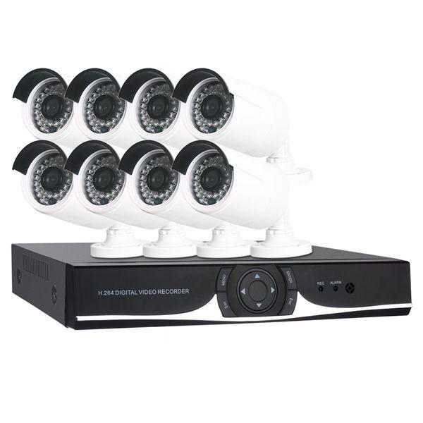 8CH1080NVideoRecordery8PCS 720P Cámaras de vigilancia a prueba de intemperie con sistema de seguridad IR-Cut