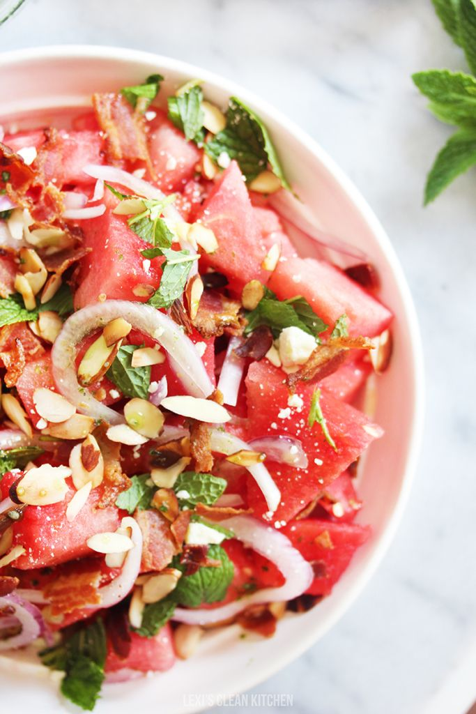 Watermelon Salad with Basil Ginger Dressing | Lexi's Clean Kitchen