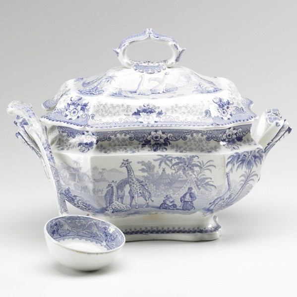 1840 John Ridgway Blue & White Transferware Tureen