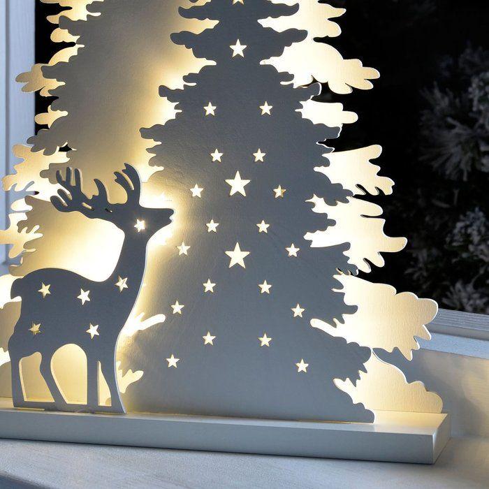 Tischdekoration Beleuchteter Baum Mit Rentier Tischdekoration Weihnachten Beleuchtete Baume Dekoration