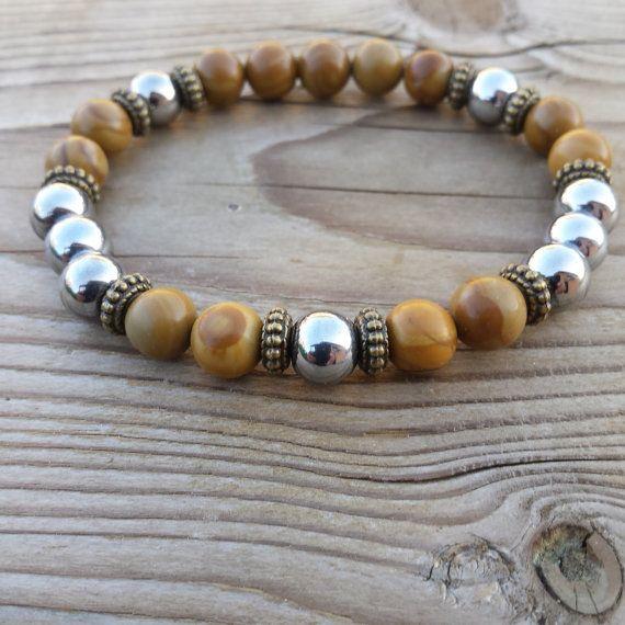 <h3>Fashion Stylish  Hematite Wood Jasper Cool Men Wrist Mala Bracelet, Jewelry Gift for Man</h3>