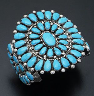 Alice Quam - Vintage Turquoise & Sterling Silver Cluster Cuff Bracelet #38375 $2,495.00