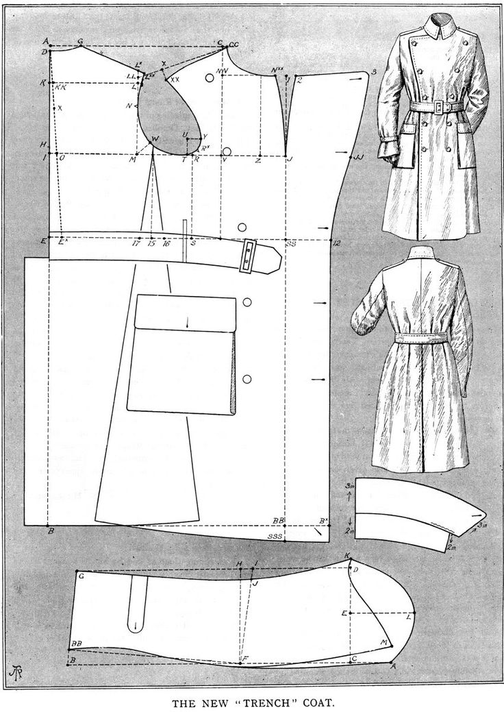 Instructions for drafting men's trench coat