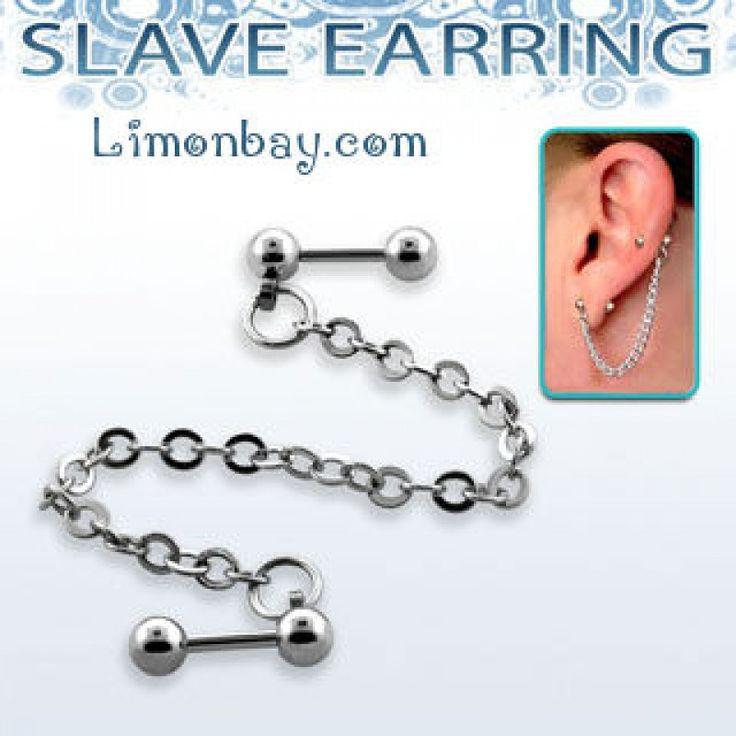 Piercing esclavo con cadena. Une el lóbulo con el hélix mediante una cadenita. Ideal para tu piercing de oreja. ¿Comprar piercings online? En Limonbay, 5.39
