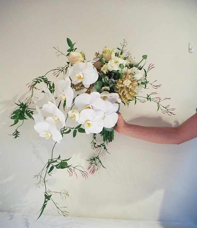 Bloodwood Botanica | White and gold ✨  Wild and Unique Bridal bouquet, a cascading arrangement of white phalaenopsis, jasmine, ranunculus, for a stylish sydney wedding