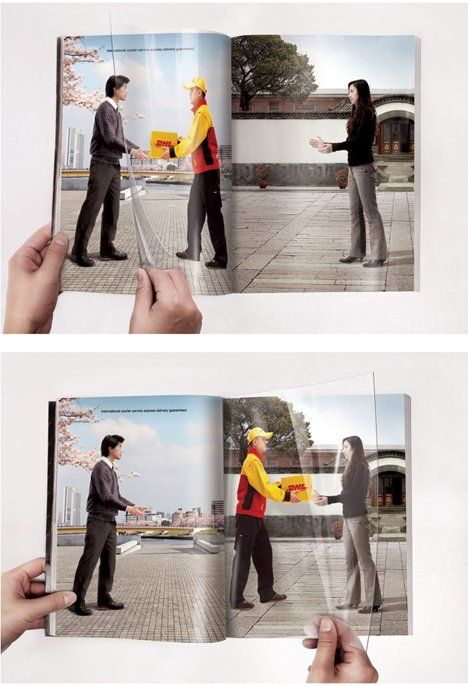 DHL - very, very clever transparency advert. Must have cost a fortune, but worth every penny!