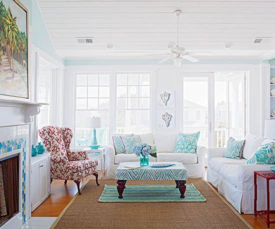 Living Room Watery Shades Of Turquoise Are A More Familiar Nod To