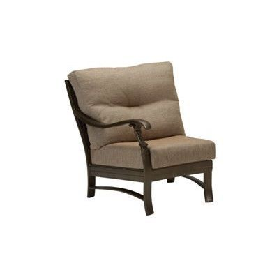 Tropitone Ravello Right Side Crescent Module Chair with Cushion Finish: Woodland, Fabric: Gold Coast
