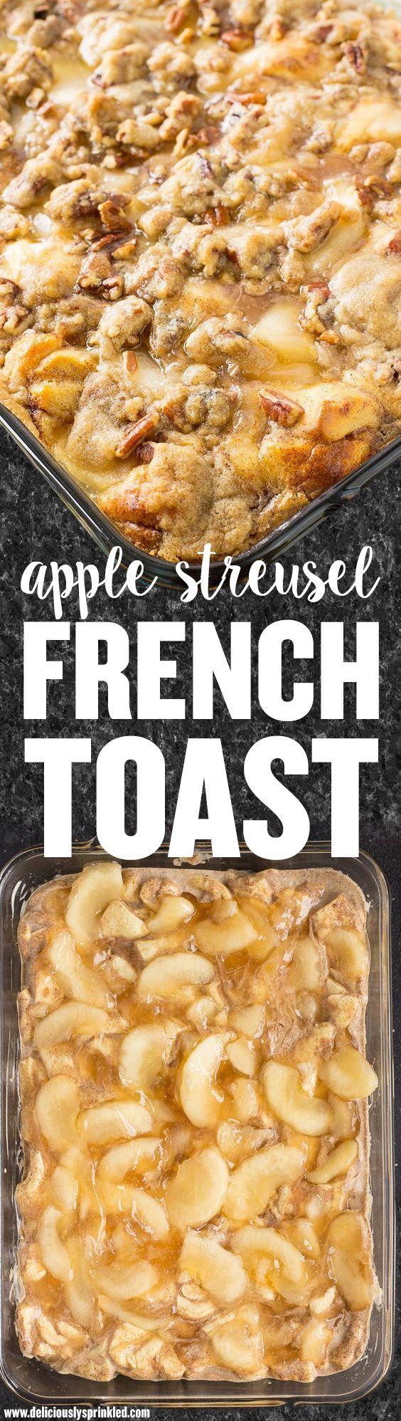 apple streusel french toast for a yummy over night bake breakfast or brunch for the whole family or feeding a large group. Try making with Jimmy John's Day Old Bread!