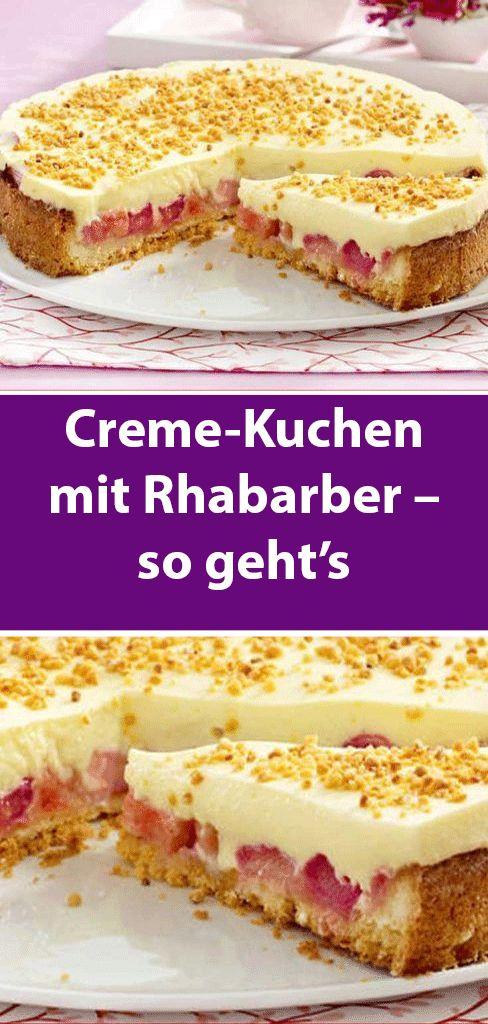 Creme-Kuchen mit Rhabarber – so geht's