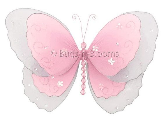 Butterfly Baby Shower Decorations Nylon Hanging Multi-Layered Butterflies Pink Fake Decorative Girls Nursery Baby Room Wall Ceiling Decor on Etsy, $6.95