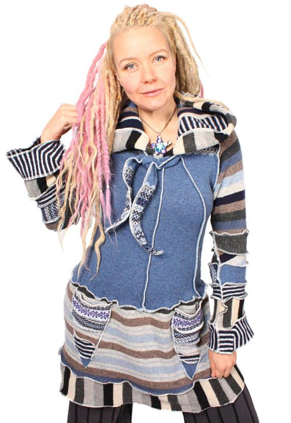 This quixotic cutie will keep you wondrously warm as you tilt at windmills and dream the impossible dream.  Bust: 44 Length: 39  Size: XL - Extra-Long  For reference the model is 510 size 12, 36D.  Enjoy! ***  I make lots of funky, reconstructed sweaters out of recycled materials. I am