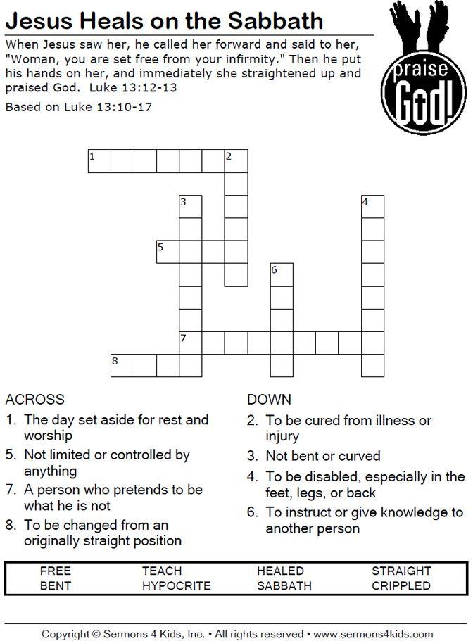 Miracles Of Jesus Crossword Puzzles Printable Jesus