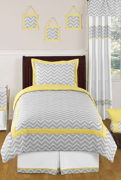 Perfect for the guest room!  Yellow and Gray Chevron Zig Zag Children and Kids Bedding 4 pc Twin and 3 pc Queen / Full by Sweet Jojo Designs