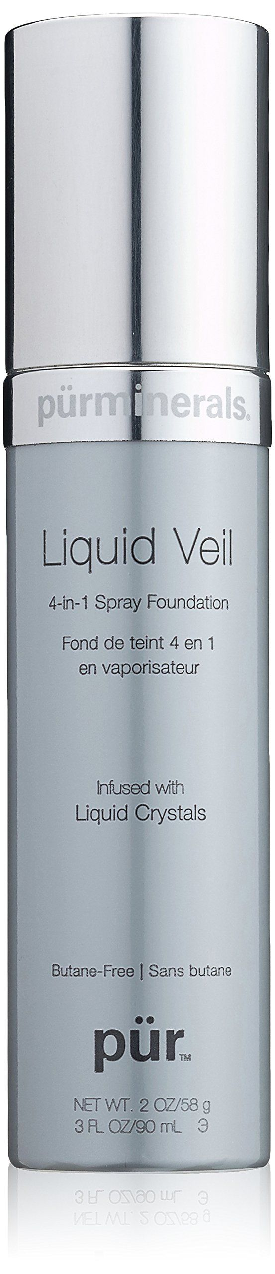 Pur Minerals Liquid Veil 4-in-1 Spray Foundation, Light, 3 Fluid Ounce. Achieve flawless, airbrushed coverage with a satin finish. Hydrate skin with intensively moisturizing Liquid Crystals. Nourish a smoother, firmer look with Pur's Ceretin Complex.