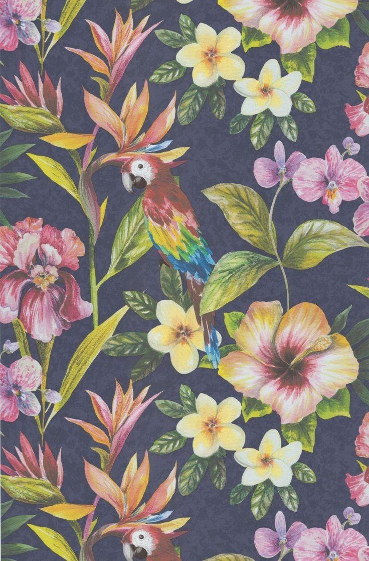 Tapete Parrot col.06 | FT10755-1 | Blumen Tapeten in den Farben multicolor | Grundton dunkelblau