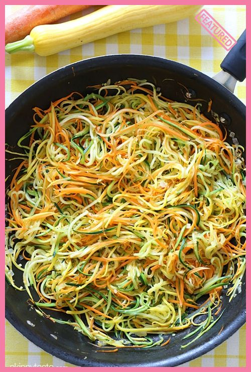 Sauteed Julienned Summer Vegetables - Zucchini, yellow squash and carrots cut into spaghetti like strands and sauteed with garlic and oil.