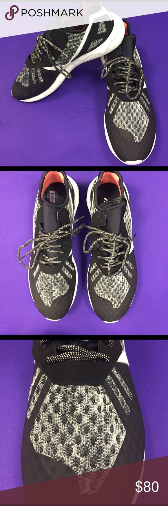 NEW Adidas Men's Black Tubular Runner Brand new with box: Men's Adidas Tubular Runner athletic sneakers (AQ2915). Black with white and heathered gray accents. Never worn. Comes with slightly damaged box (some puncture marks on top). Men's size 12. Adidas Shoes Athletic Shoes