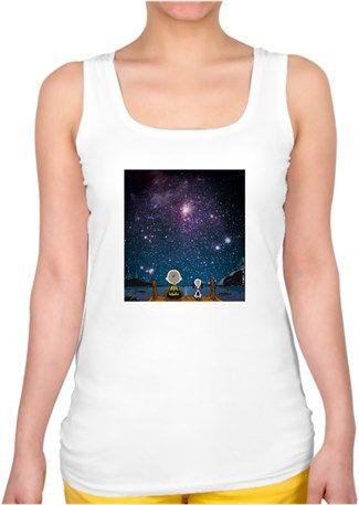 Uzay Boşluğu Snoopy Kendin Tasarla - Bayan Kare Yaka Atlet