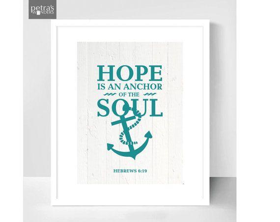Bible verse  Print Hebrews 6.19 Hope is an anchor by PetrasWonders, £10.00