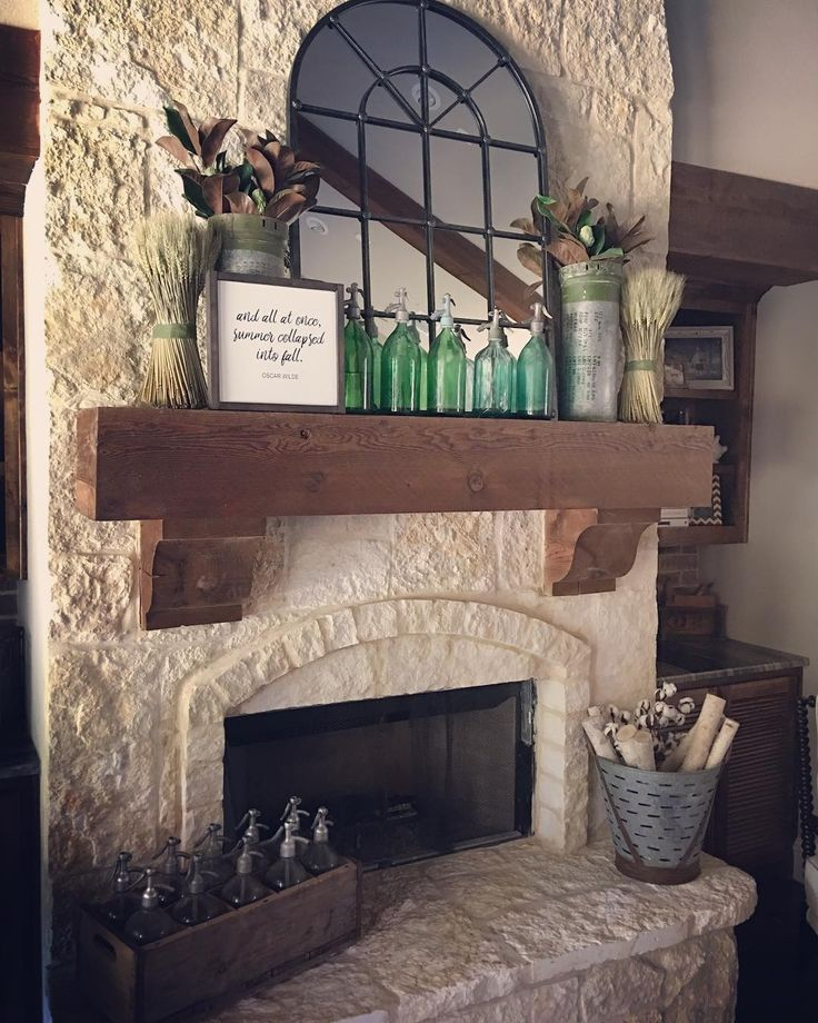 Slab style primitive fireplace mantel.