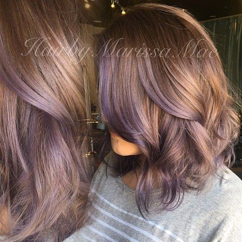 light brown hair with lavender highlights                                                                                                                                                     More