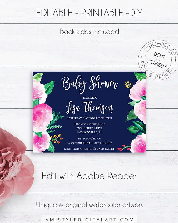 Navy blue baby shower invite, with nice and bright watercolor flowers in rustic style.This printable baby shower invitation listing is for an instant download EDITABLE PDF so you can download it right away, DIY edit and print it at home or at your local copy shop by Amistyle Digital Art on Etsy