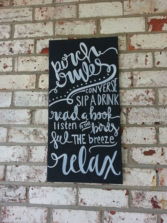Porch rules sign- hand lettered canvas, black and white, chalkboard style