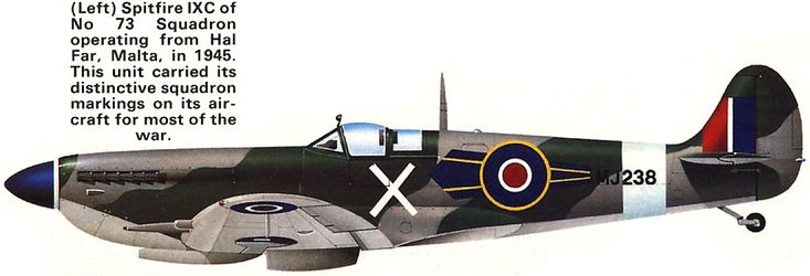 Unit: 73 Sqn, RAF  Serial: X (MJ238)  This squadron operating from Hal Far, Malta, in 1945. This unit carried its distinctive squadron markings on its aircraft for most of the war.    Artist: © John Weal  Source: Air International Magazine, January 1983 (Vol.24, No.1)  .