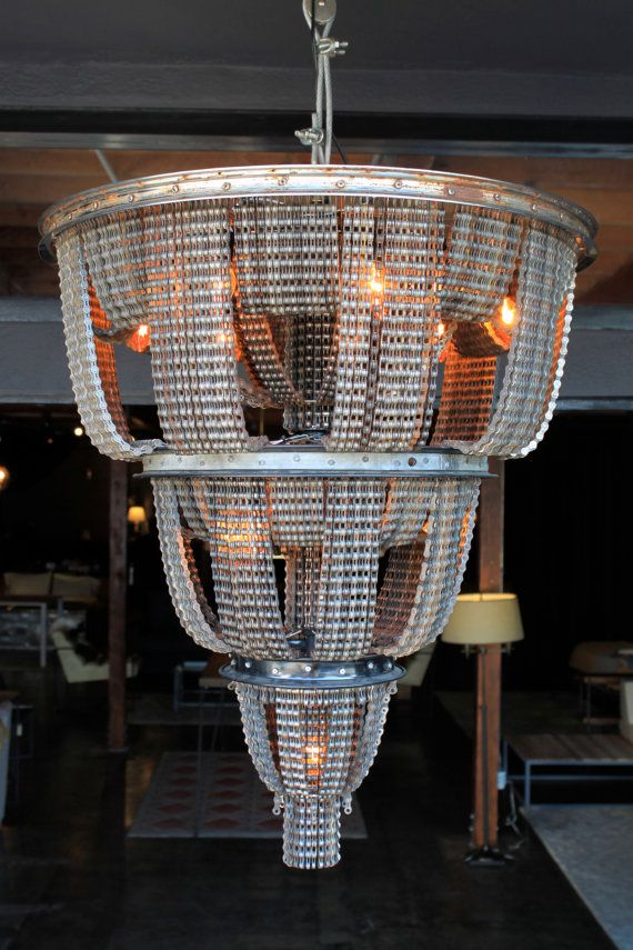 Reclaimed Metal and Bicycle Ceiling Mount Chandelier 33