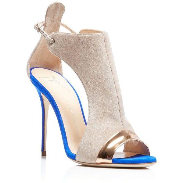 Giuseppe Zanotti Mistco Peep Toe High Heel Pumps (55,640 INR) ❤ liked on Polyvore featuring shoes, pumps, cobalt, metallic high heel shoes, cut out pumps, high heel pumps, peep-toe shoes and metallic pumps