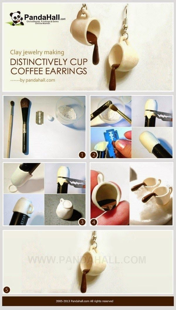 The fairy tales:DIY Tutorial FIMO Polymer clay - cup of coffee earrings