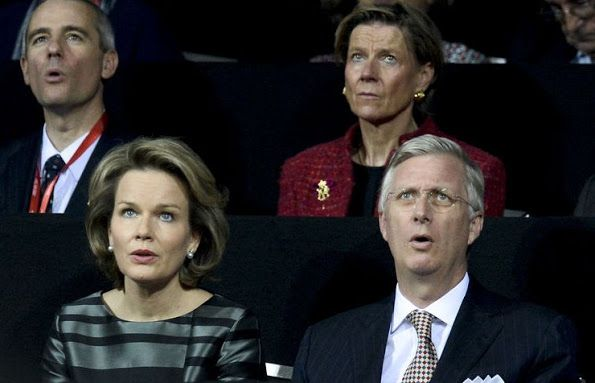King Philippe of Belgium and Queen Mathilde of Belgium attends the opening ceremony of the Davis Cup Final 2015 at the Flanders Expo on November 27, 2015 in Ghent, Belgium.(Belgium v Great Britain: Davis Cup Final 2015 - Day One)