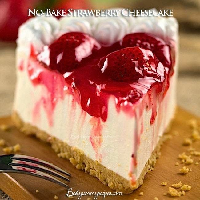 FOOD AND COOK : No-Bake Strawberry Cheesecake