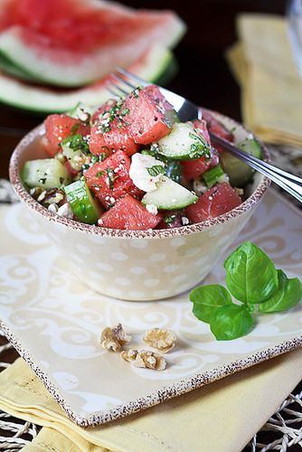 Watermelon cucumber salad with feta, toasted pecans (or walnuts ...