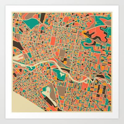 Melbourne Map Art Print by Jazzberry Blue - $19.00