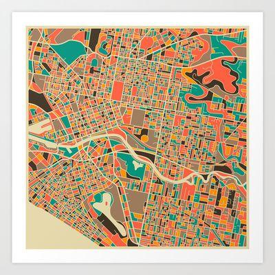 Melbourne Map Art Print by Jazzberry Blue - $19.00